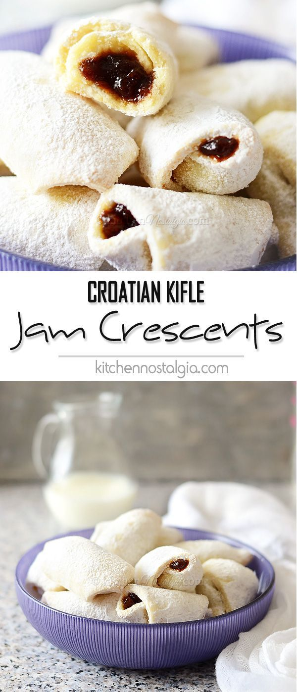 Jam Crescent Cookies (Croatian Kifle) - melt-in-your-mouth, soft and flaky cookies filled with your favorite jam