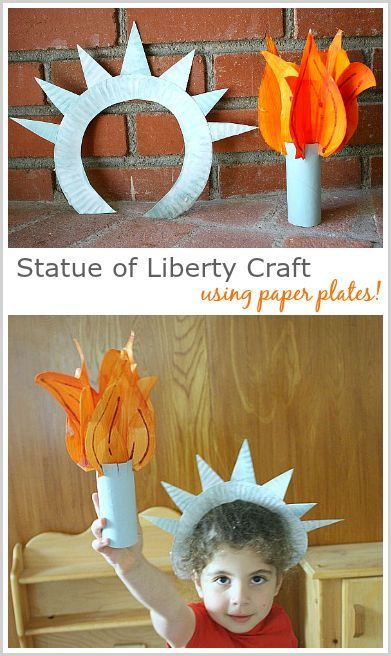 Statue of Liberty Crown and Torch made from a Paper Plate! Easy patriotic craft for kids that can also be used during the olympics! ~ BuggyandBuddy.com