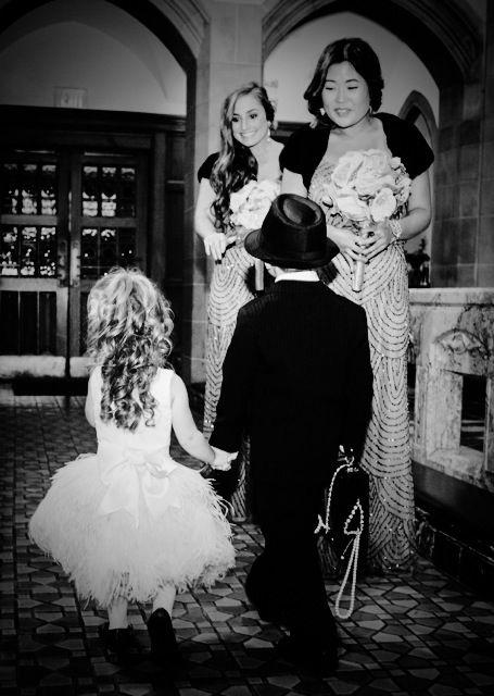 Little flapper flower girl and mobster ring bearer at our Art Deco wedding