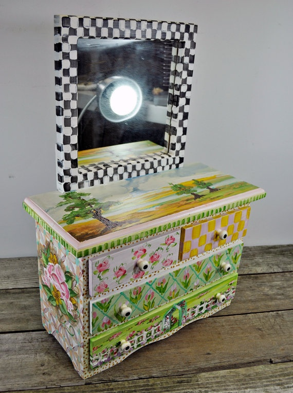 Elegant Handpainted Floral Springtime Checkered Mini By Upscaleyardsale, $200.00