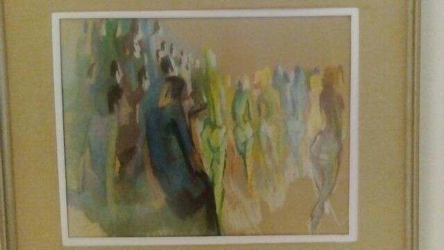 Rowley Park crowd ladies in Lycra circa 1965 Jackie Hick  pastel on brown paper