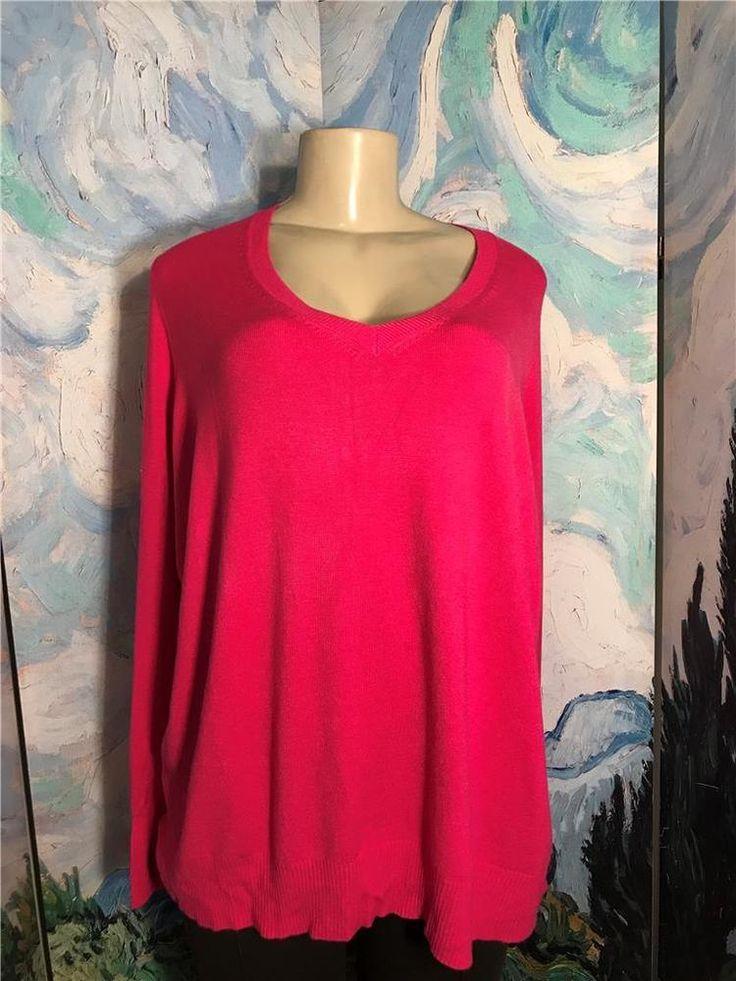 Lane Bryant Plus 3X Pink V-Neckline Ribbed Trim/Sides Long Sleeve Tunic Sweater #LaneBryant #Tunic #Work