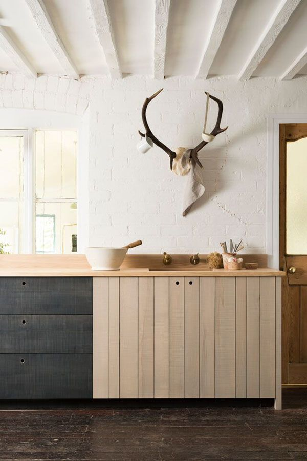 Modern rustic kitchen with Large Faux Deer