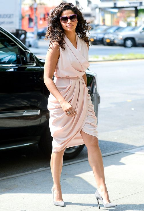 Camila Alves in a pink wrap dress