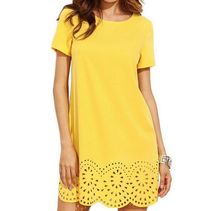 Cutout Mini Dress For Women 2017 New Casual Short Sleeves Round Neck Loose A-Line Dress Yellow Summer Dresses Vestidos Jurken