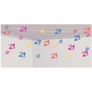 A991141 - String Decoration 21st Birthday String Decoration 21st Birthday (30 Metres Long) Cover a huge area with this ceiling decoration! Please note: approx 14 day delivery
