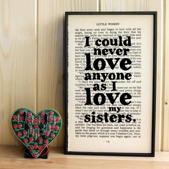 Little Women gift for sisters quote on Vintage Book Page Framed Art