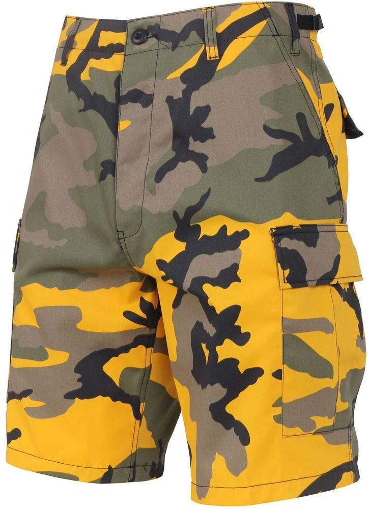 Mens Bright Yellow Camouflage Military BDU Cargo Shorts Hunter Shorts  f8aa382f358