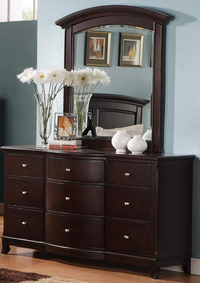 avalon dark cherry wood dresser u0026 mirror