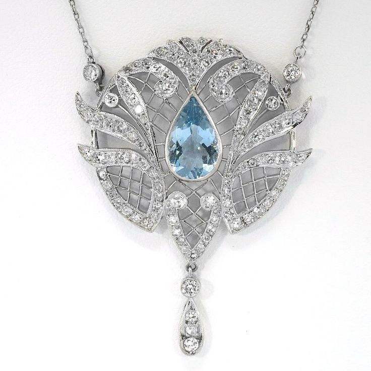 Outstanding Regal Art Deco Aquamarine & Diamond Pendant Necklace 18k from Jewelry Finds on Ruby Lane