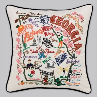 Georgia Pillow, Please? For Christmas?Handembroid Georgia, Hands Embroidered, Southern Things, Georgia Pillows, Decor Geography, Embroidered Catstudio, Georgia States, Catstudio Georgia, States Pillows