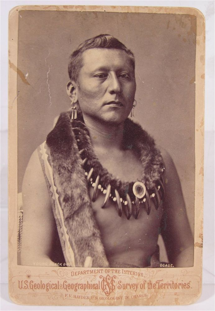 1870's NATIVE AMERICAN OSAGE INDIAN CABINET CARD PHOTO OF CHIEF YOUNG BLACK DOG