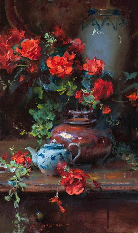 Dan Gerhartz is known for his romantic, painterly still lives, often featuring beautiful flowers. fine art for the home, romantic paintings, original fine art, original oil paintings, art by Dan Gerhartz, home decor, still life paintings, flower paintings, floral paintings
