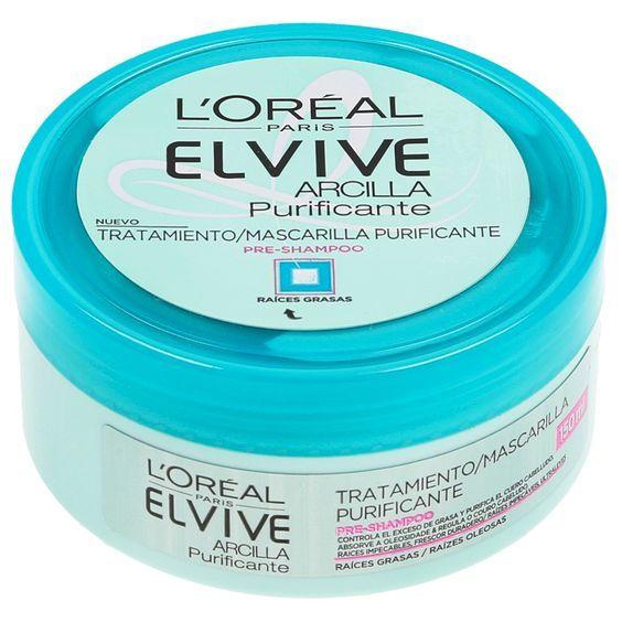 Elvive Arcilla Purificante Mascarilla pre-shampoo para cuero cabelludo de normal a graso. Purifica y equilibra el cabello dejando una sensación de recién lavado durante 48 h.