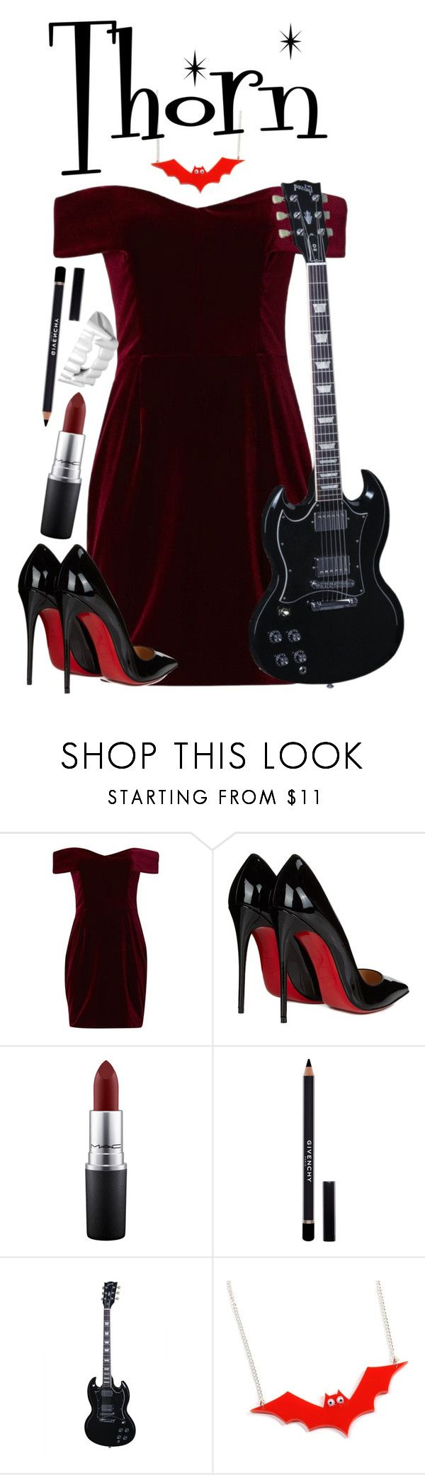 """""""Thorn from the Hex Girls"""" by anastaziah2014 ❤ liked on Polyvore featuring Nicholas, Christian Louboutin, MAC Cosmetics and Givenchy"""
