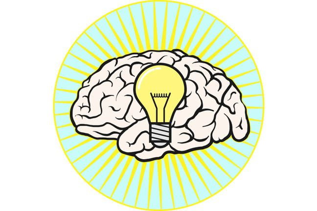 Pictorial representation of a brain and a lightbulb with radiating yellow lines