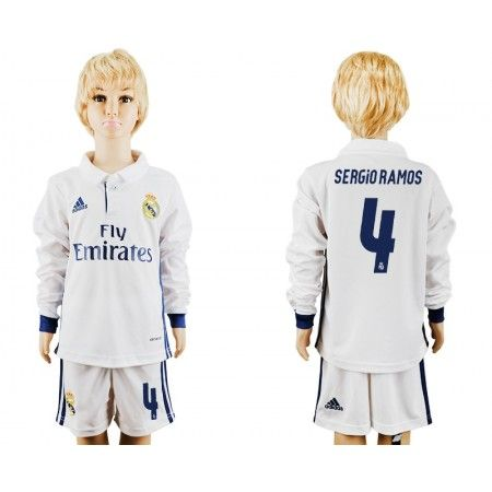 Real Madrid Trøje Børn 16-17 #Sergio Ramos 4 Hjemmebanetrøje Lange ærmer,222,01KR,shirtshopservice@gmail.com