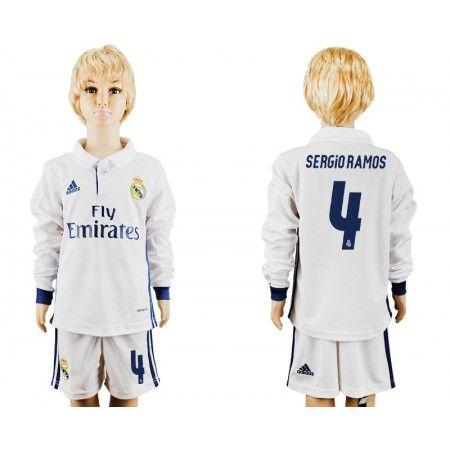 Real Madrid Trøje Børn 16-17 #Sergio Ramos 4 Hjemmebanetrøje Lange ærmer.222,01KR.shirtshopservice@gmail.com