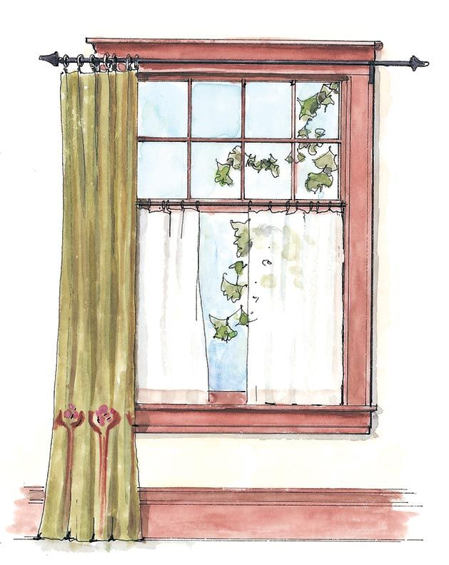 Drapes Layered With Cafe Curtains