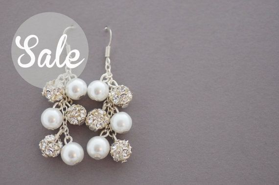 White Glass Pearl and Rhinestone Cluster by CherryBlossomJewels0, £3.00