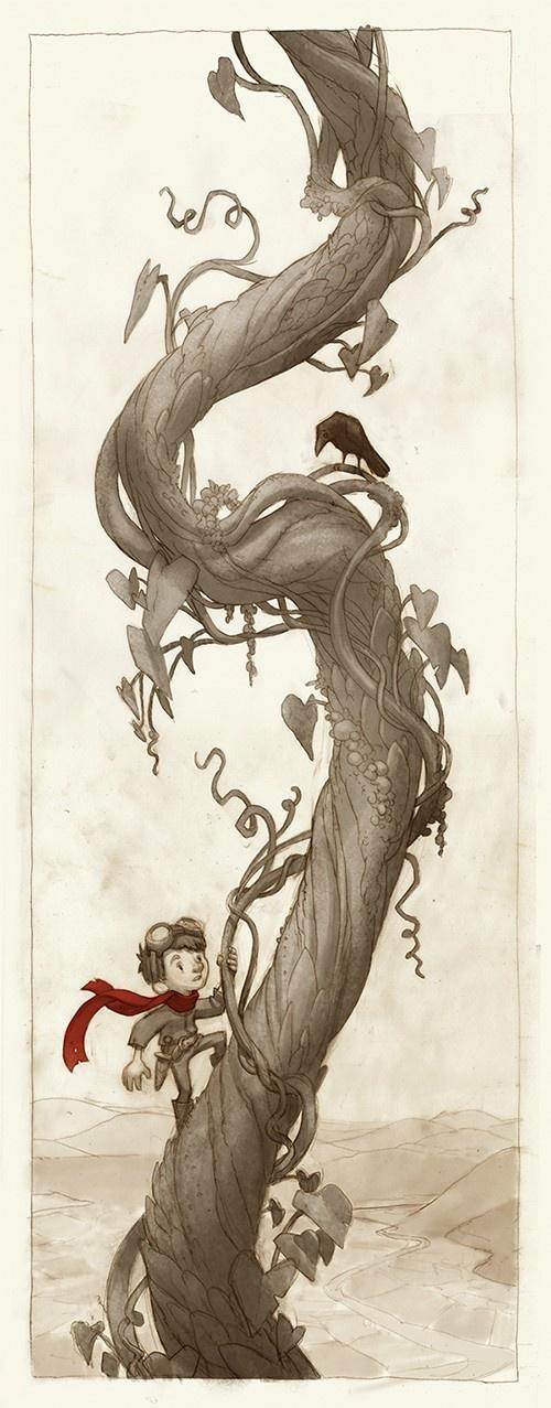 art, illustration, figure, child, boy, side, holding, animal, bird, crow, raven, vine, jack and the beanstalk, fairy tale //  Climb - by Jake Parker.