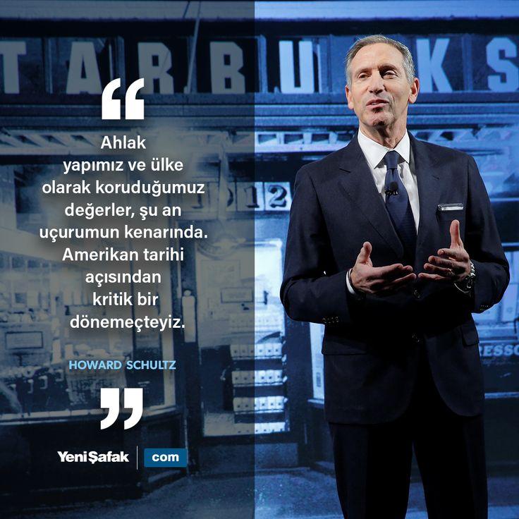 """""""Ahlak yapımız ve ülke olarak koruduğumuz değerler, şu an uçurumun kenarında. Amerikan tarihi açısından kritik bir dönemeçteyiz.""""   Starbucks'ın kurucusu ve başkanı Howard Schultz   #ahlak #değer #amerika #işdünyası #HowardSchultz #ekonomi #aforizma #starbucks"""