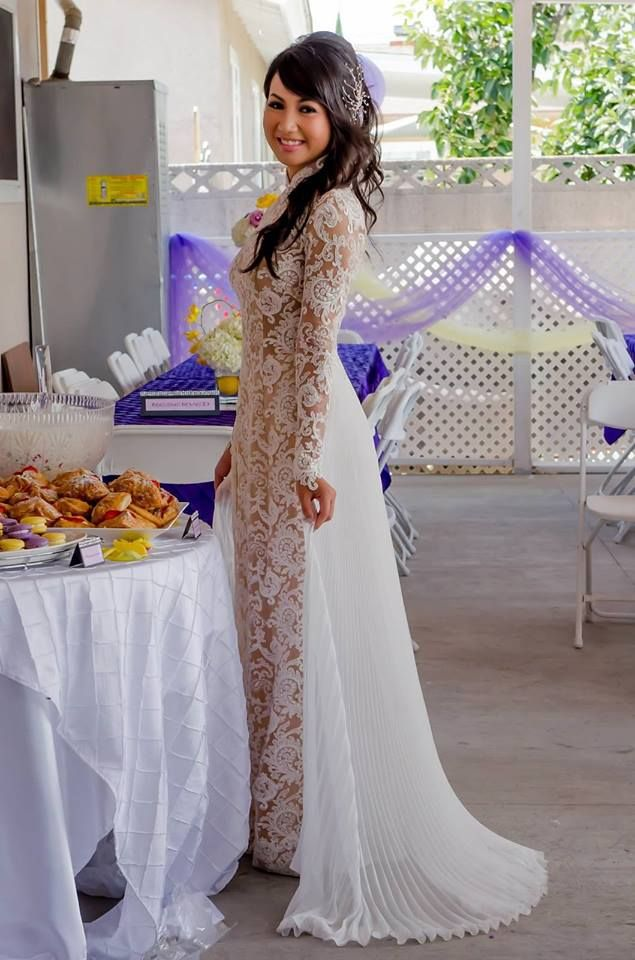 Custom modern Wedding Lace Ao Dai by www.thainguyencollections.com