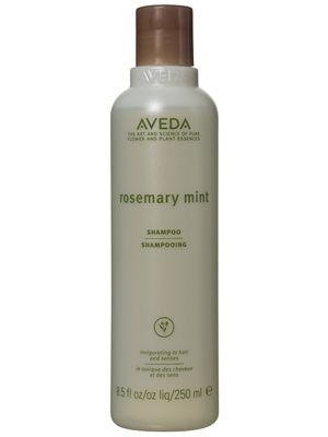 This Aveda Rosemary Mint Shampoo for all hair types removes dirt and oil while invigorating the scalp.