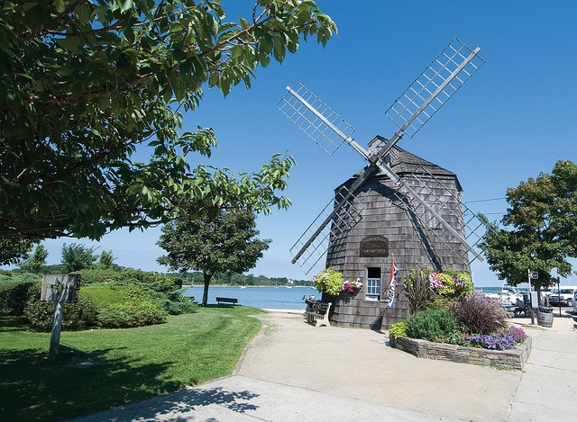 Sag Harbor Village, NY: The iconic windmill in Sag Harbor at the head of Long Wharf, overlooking the harbor. Photo by Brown Harris Stevens of the Hamptons.
