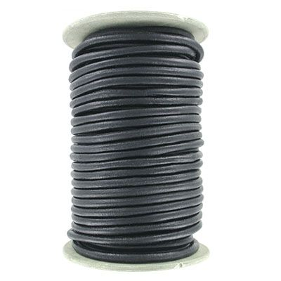 Leather cord, 5mm, round, matte black, 25 meters. (SKU# TT5MMA/MBLK). Sold per pack of 1 spool(s).