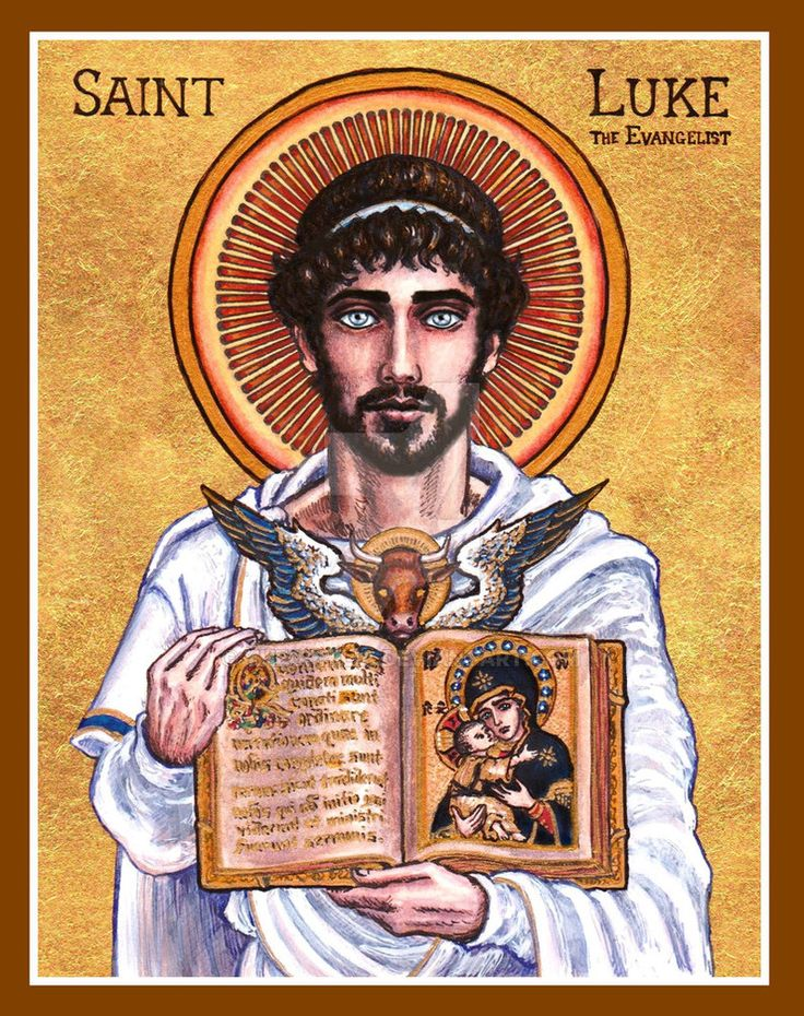"""St. Luke the Evangelist icon May 8th, 2013 Ink, watercolor, gold leaf """"Let us praise the godly Luke: He is the true preacher of piety, The orator of ineffable mysteries And the star of the Ch..."""