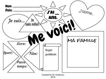 French FSL first day or week writing graphic organizer activity. Me voici! All about me!