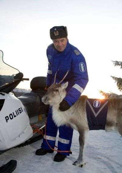 A finnish police reindeer, appearing mostly in PR functions to raise awareness in traffic safety.