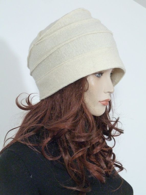 Funky effortlessly chic asymmetric cloche winter hat white/ by whitebagheera, $64.00