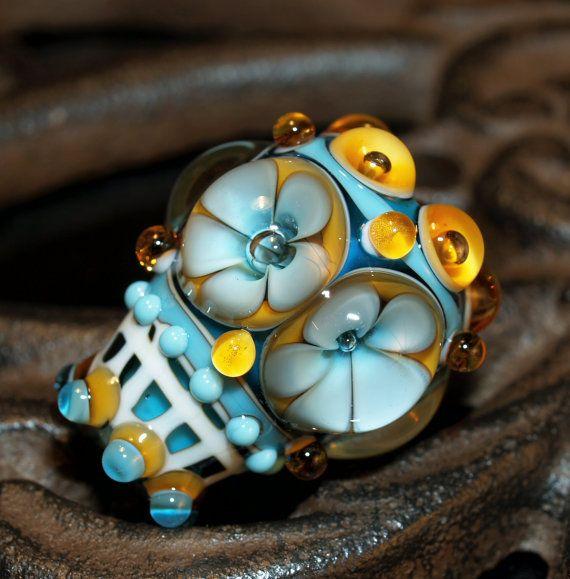 Items similar to turquoise flower bead, handmade glass bead SRA, OOAK, lampwork bead on Etsy