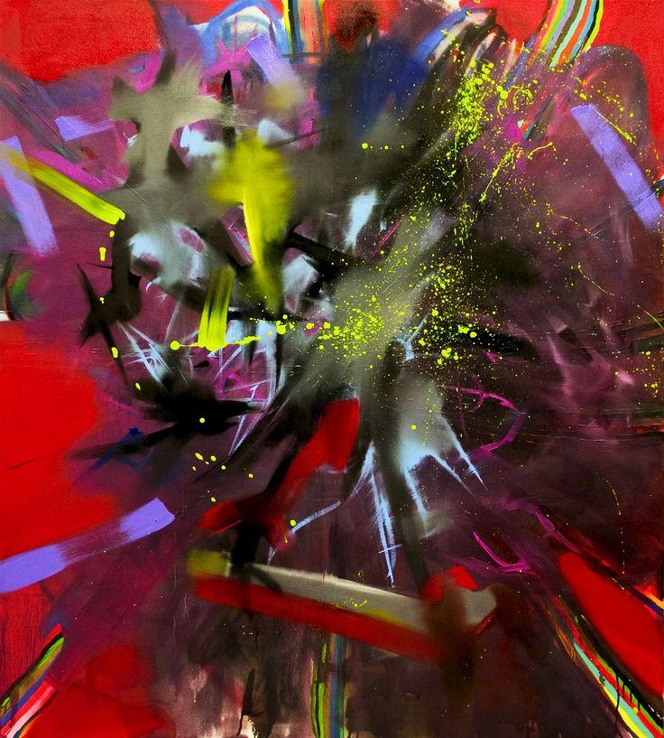 Juha Kärki, Out of my way - Pois tieltäni, 150 x 135, Acrylic, spray and oil color on canvas