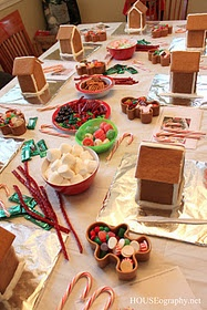 Gingerbread House Party - great craft for kids while Mom makes thanksgiving dinner!