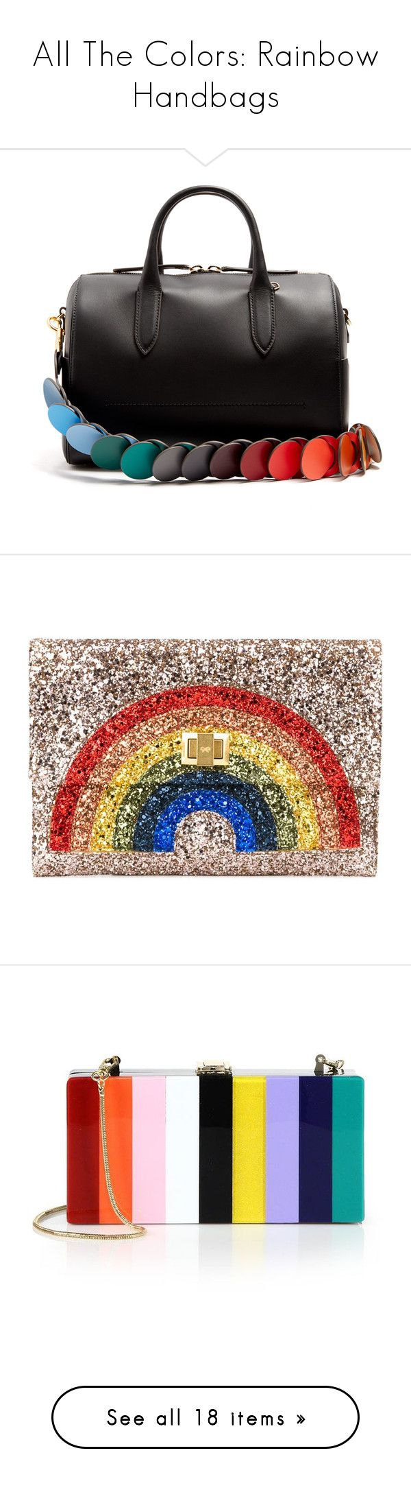 """""""All The Colors: Rainbow Handbags"""" by polyvore-editorial ❤ liked on Polyvore featuring rainbowhandbags, bags, handbags, shoulder bags, black multi, structured leather handbags, barrel bag, leather shoulder strap handbags, leather barrel bag and genuine leather handbags"""