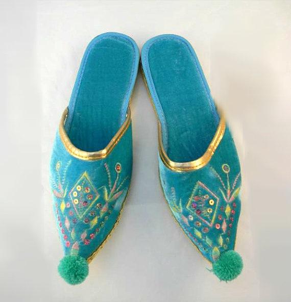 Vtg 50s GENIE SLIPPERS Pointed Toe  Aqua by saintsvintagedress