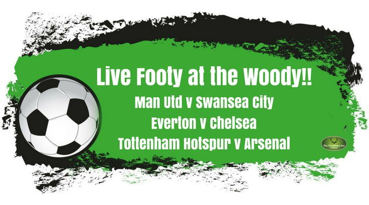 Live Footy at the Woody Today! Man Utd v Swansea City Kick Off: 12pm Everton v Chelsea Kick Off: 2:05pm Tottenham Hotspur v Arsenal Kick Off: 4:30pm #forestofdean #thewoodmaninn #football #bankholiday #happysunday www.thewoodmanparkend.co.uk