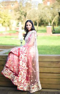 Valentines Day Fashion: Desi Style. Red and cream shaded lehenga sari.