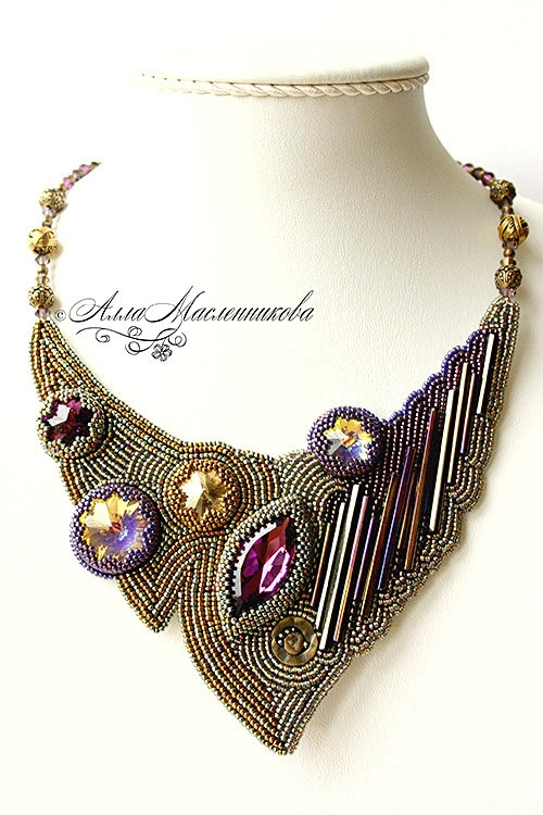Playful  beaded necklace with Swarovski crystals and by beadladyru, $320.00
