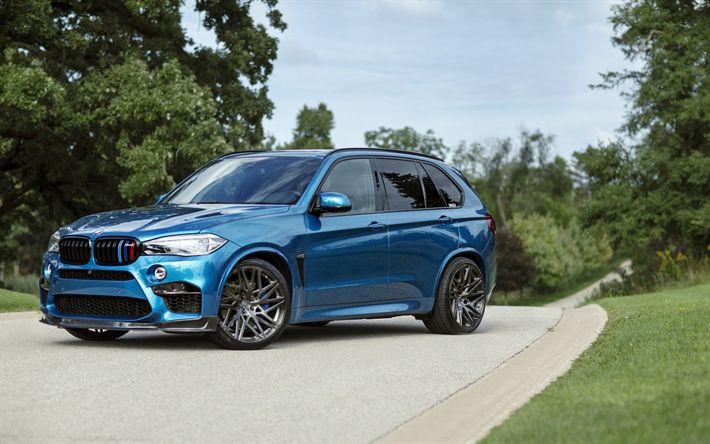 Download wallpapers BMW X5M, 2017, F85, Sky Blue X5, luxury sports SUV, German cars, tuning X5, BMW