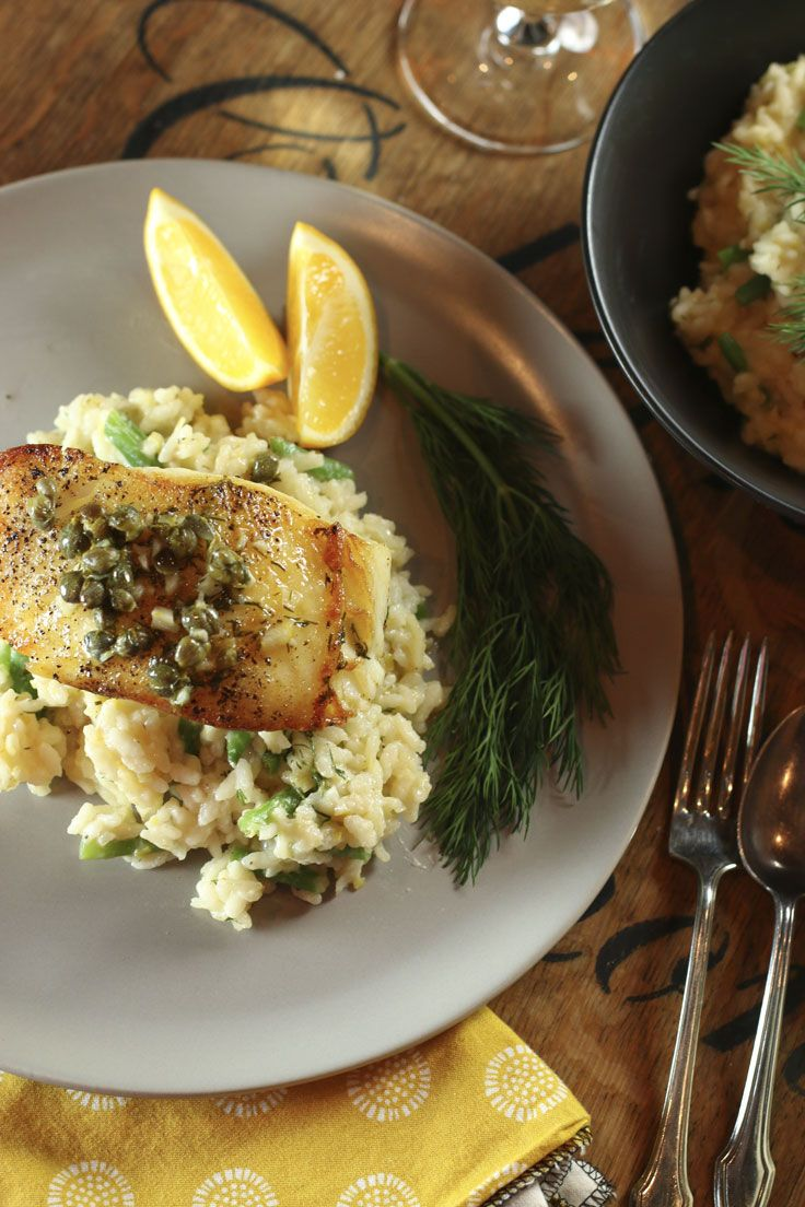 Pan-seared Chilean sea bass is seared on the stove, finished in the oven and draped with a quick wine, butter, lemon, dill