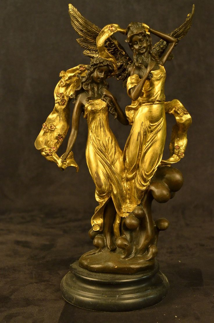 Female Angels Guardians Bronze Statue Sculpture Art Deco ...