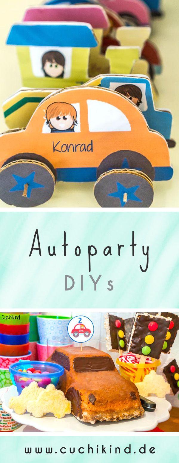 Diys zum thema auto f r den kindergeburtstag autos aus pappe autokuchen muffinspie e und