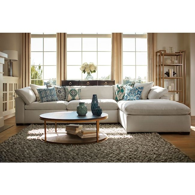 Plush 3 Piece Sofa And Ottoman Cheap Living Room Furniture White Furniture Living Room Cheap Patio Furniture #patio #furniture #in #living #room