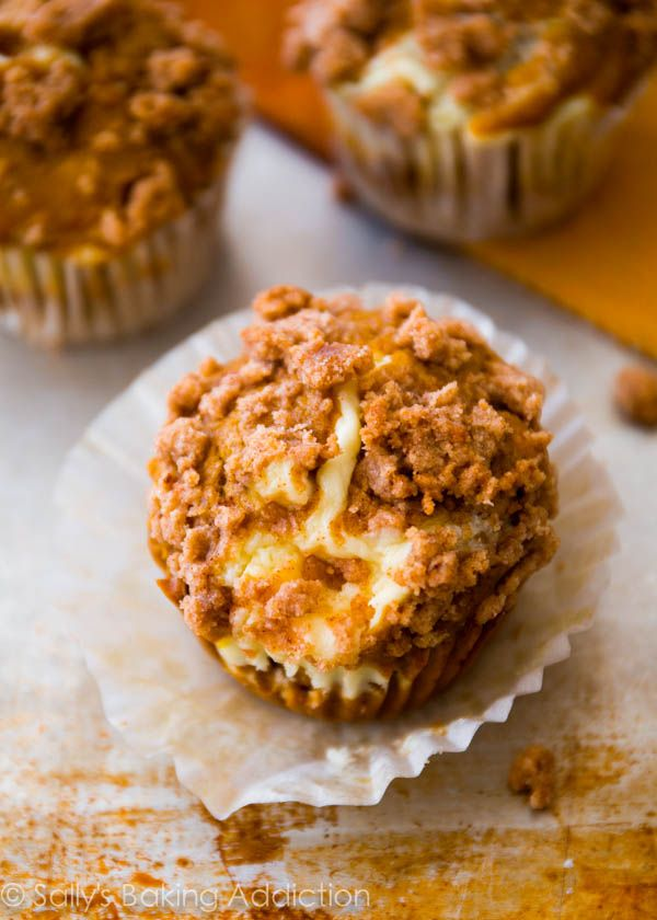 Pumpkin Cheesecake Muffins - Topped with brown sugar streusel. So good!