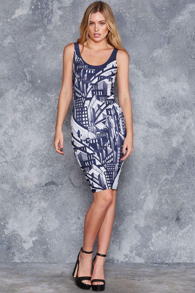 Deco Skyline Midi Pencil Dress - LIMITED ($100AUD) by BlackMilk Clothing