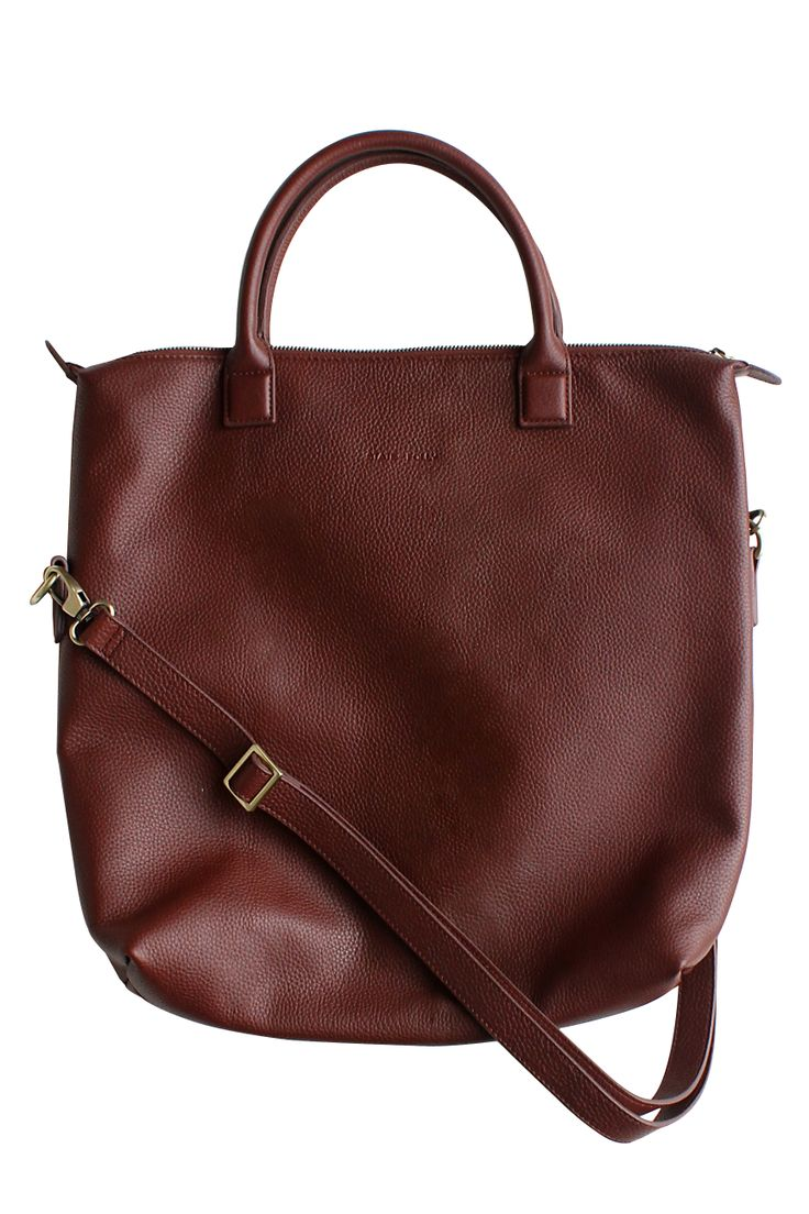 Square Dark Tan Leather Tote